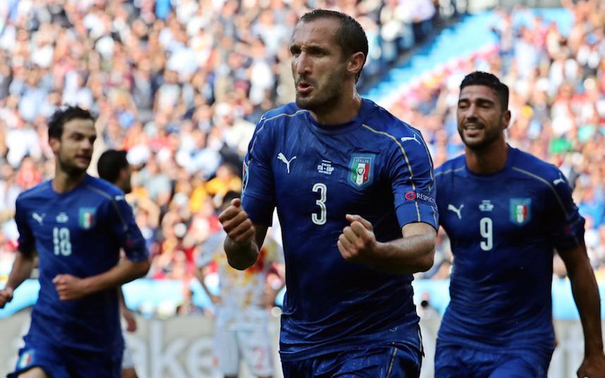 佩莱基耶利尼破门 意大利2-0完胜西班牙