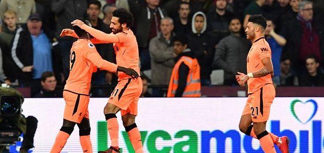 萨拉赫双响张伯伦联赛首球 利物浦4-1西汉姆联