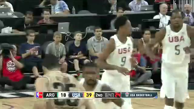 7月23日热身赛 美国男篮vs阿根廷 第二节 录像